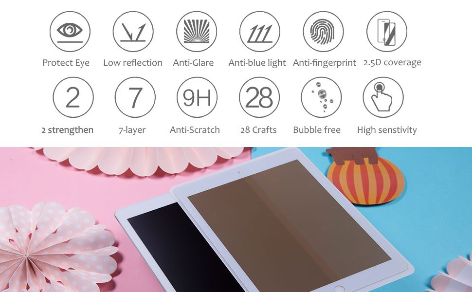 9H Bubble Free Case Friendly anti fingerprint scratch proof screen protector for iPad pro 12.9