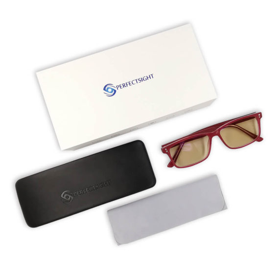 Burgundy blue light blocking glasses package