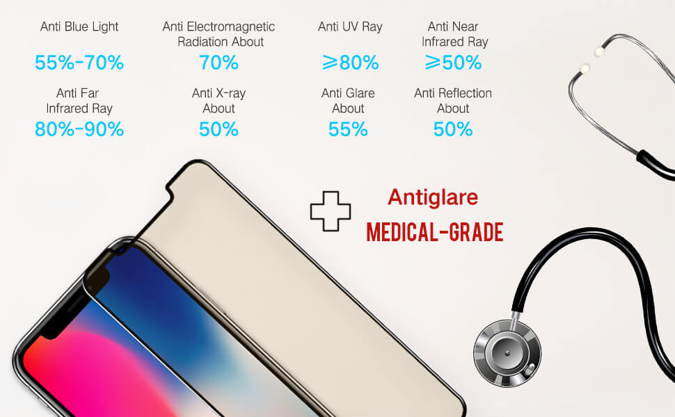 main functions for iPhone 11 X series matte anti glare medical grade screen protector