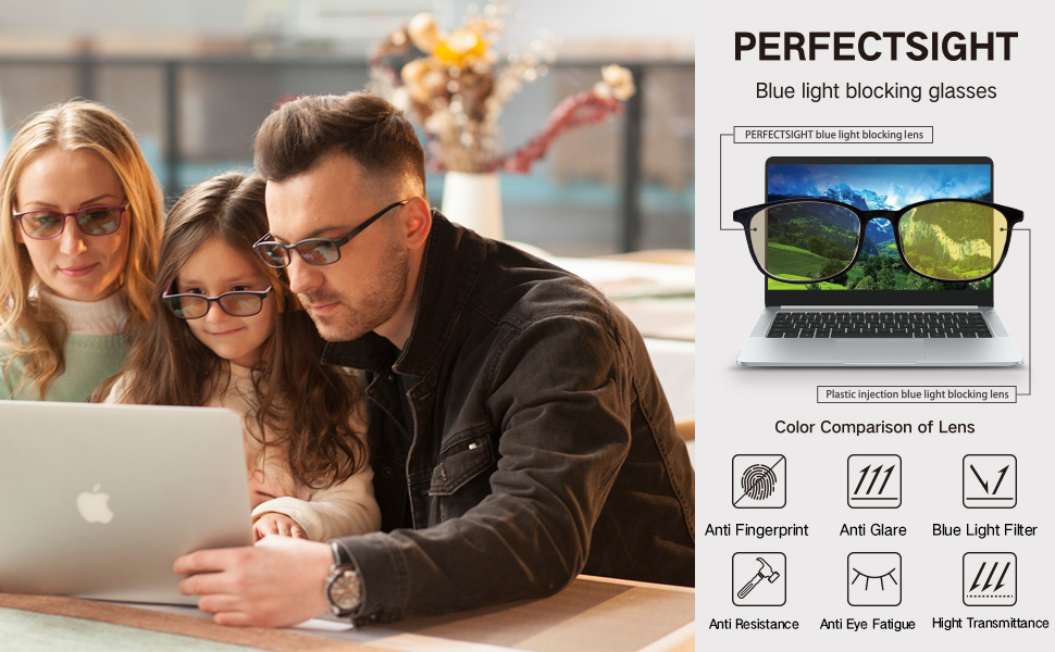 perfectsight blue light blocking glasses lens color and main functions