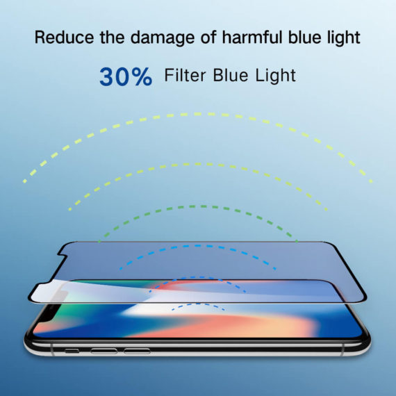 blue light blocking effect for iPhone X series hd clear primary edition screen protector