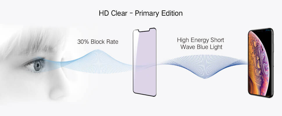 blue light blocking rate for iphone x series hd clear primary edition screen protector