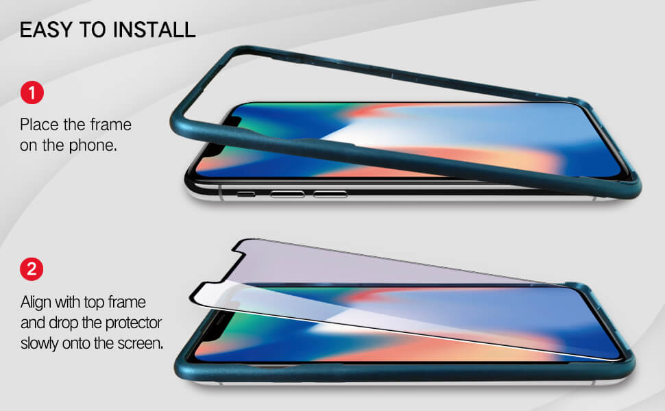 easy installation with alignment tray for iPhone x series