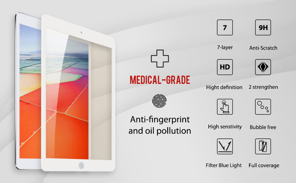 other details functions for iPad pro hd clear medical grade screen protector