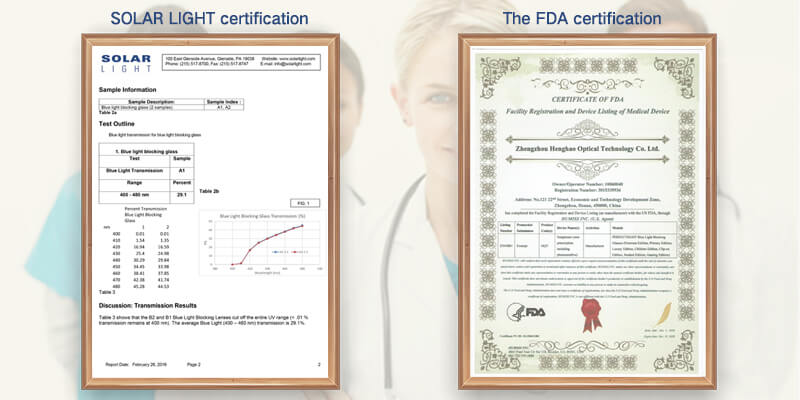 FDA and SOLAR LIGHT certificate
