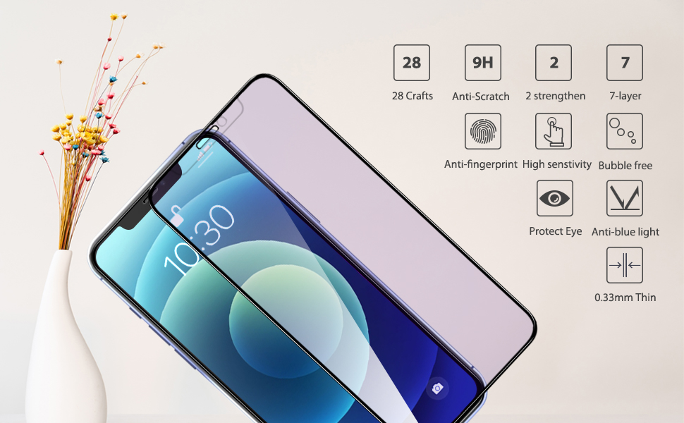 iPhone 12 series blue light blocking tempered glass screen protector